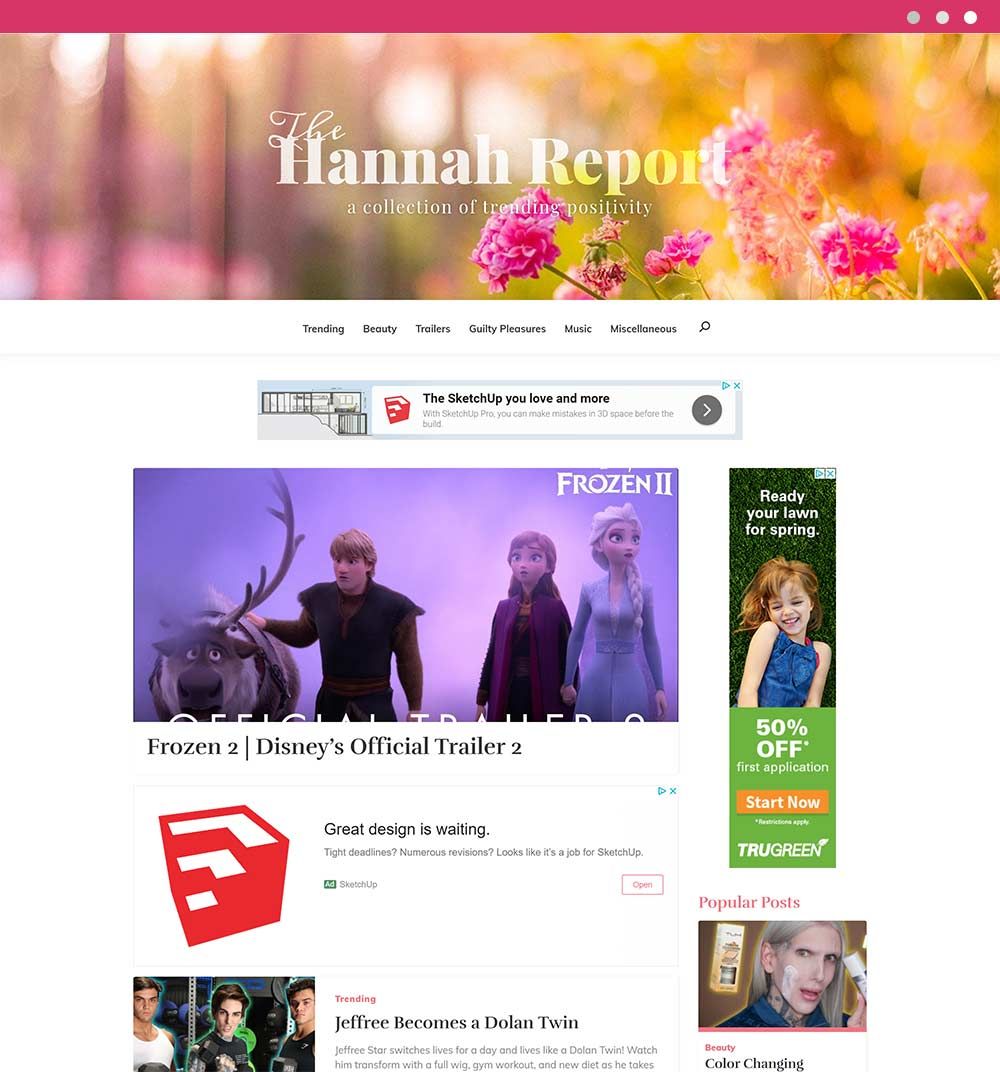 TheHannahReport.com homepage designed by CHIMENTO Agency