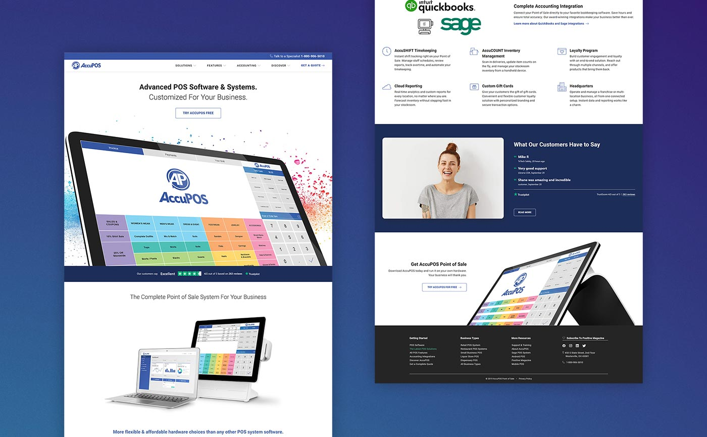 AccuPOS Point of Sale website design and branding material