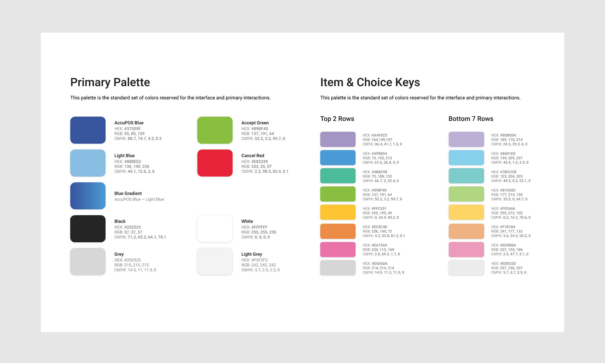 Design guide excerpt with new UI colors for software and digital marketing, designed by CHIMENTO Agency