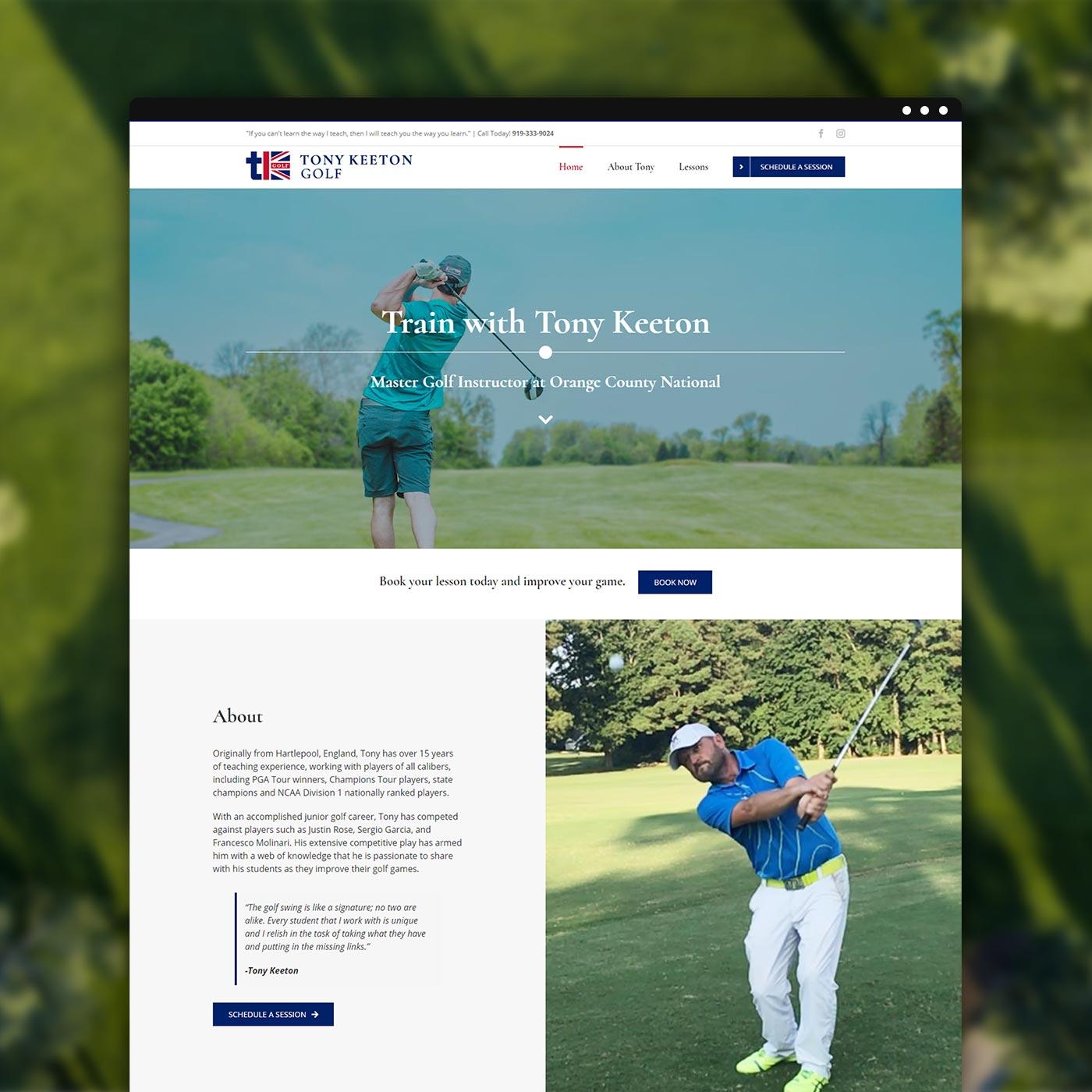 New business website for Tony Keeton Golf, golf instructor