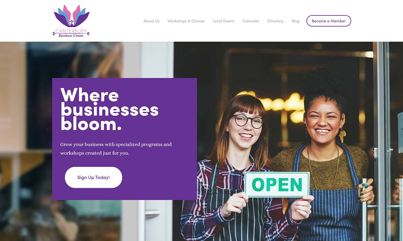 Canterbury Business Center's new website homepage designed by CHIMENTO Agency