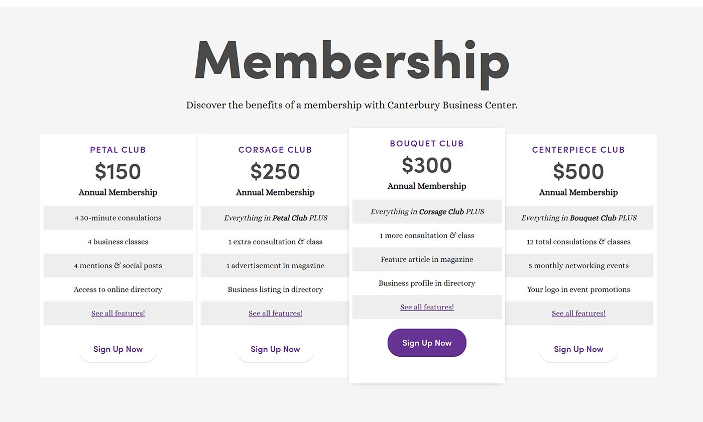 Membership comparison table for Canterbury Business Center's new website