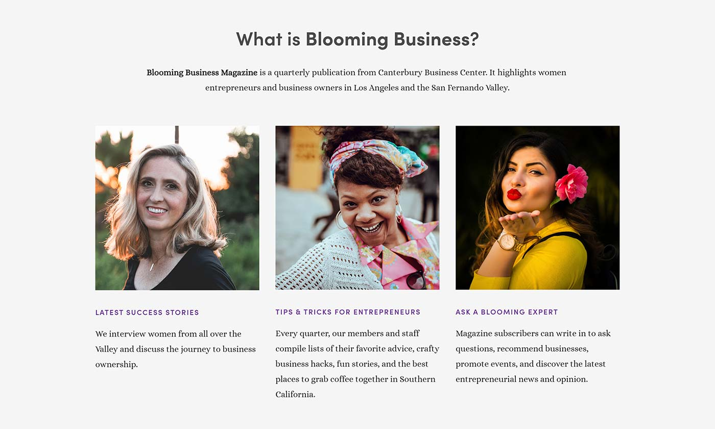 Blooming Business Magazine website section on CanterburyBusinessCenter.com new website design project