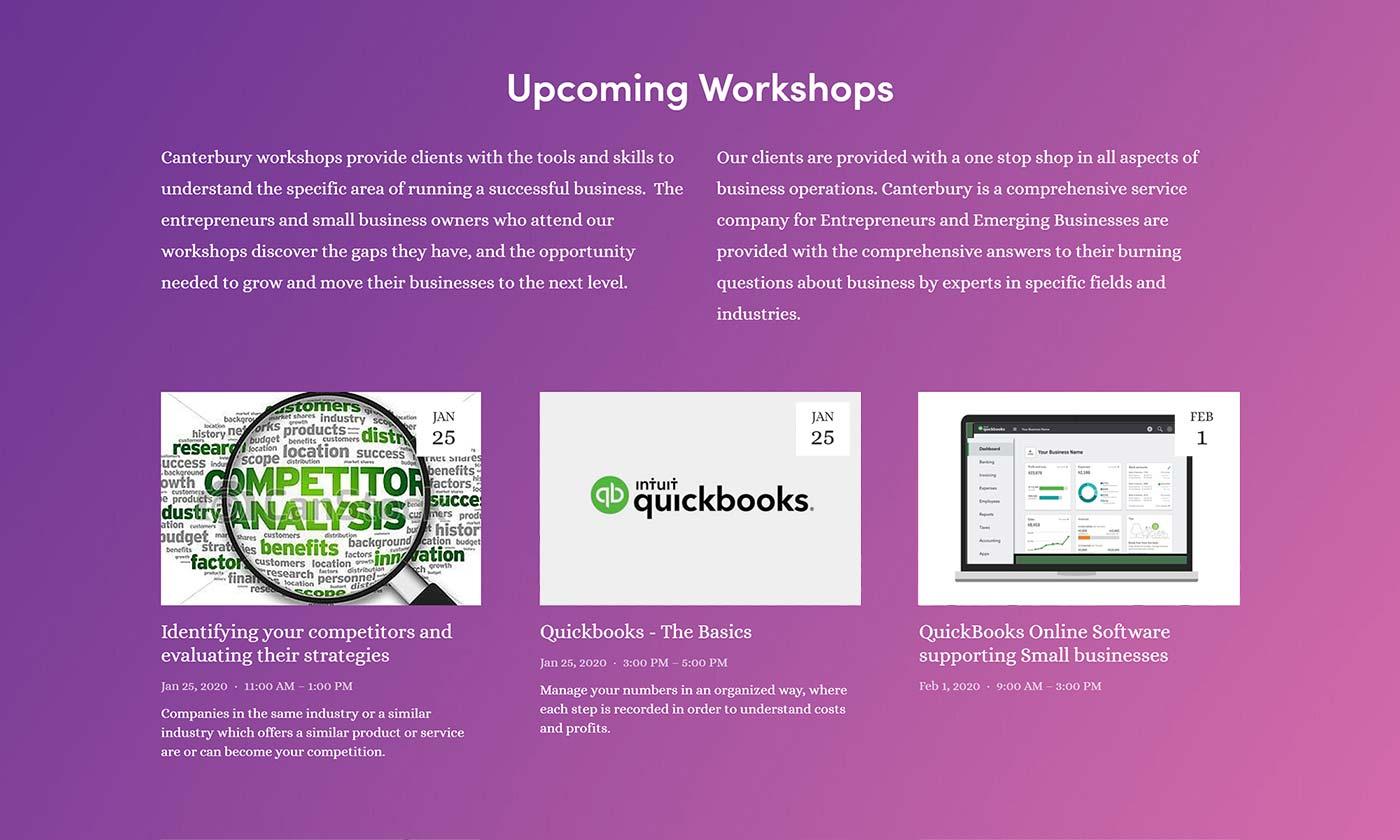 Discover upcoming workshops on CanterburyBusinessCenter.com