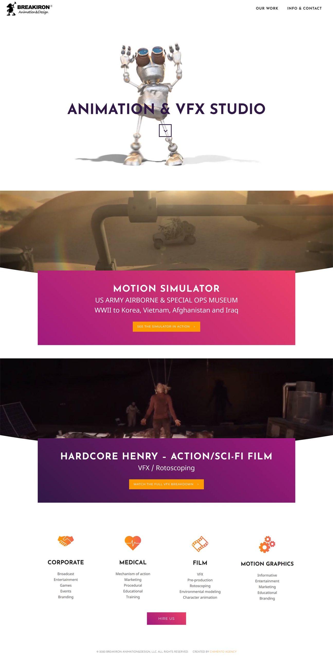BREAKIRON Animation&Design desktop homepage