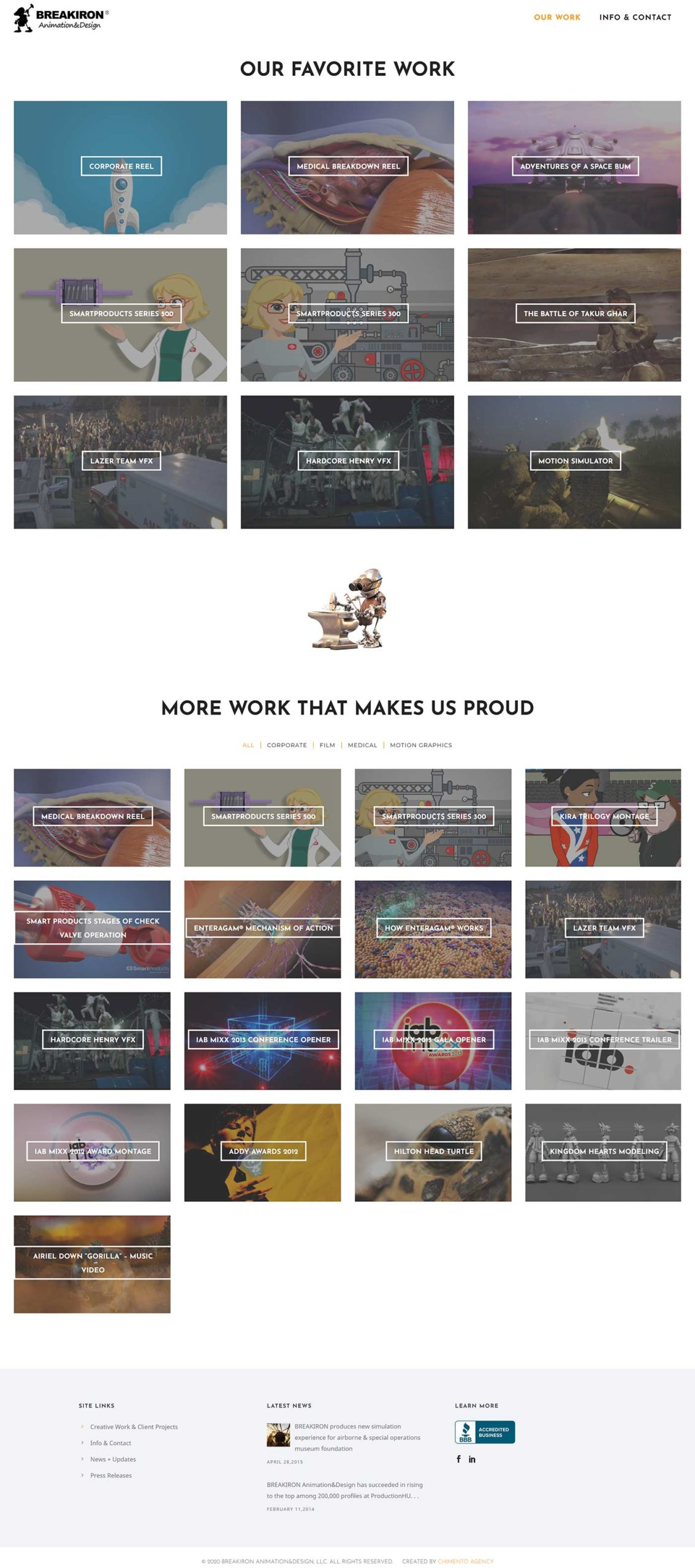 Our Work page on BREAKIRON.com 2020 website