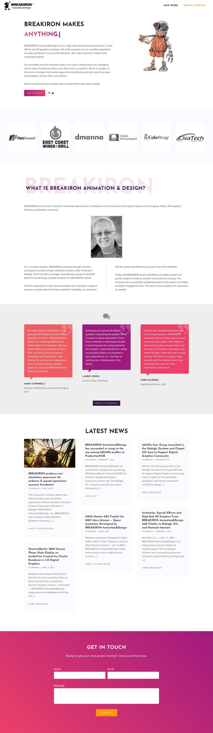 BREAKIRON Animation&Design main contact page