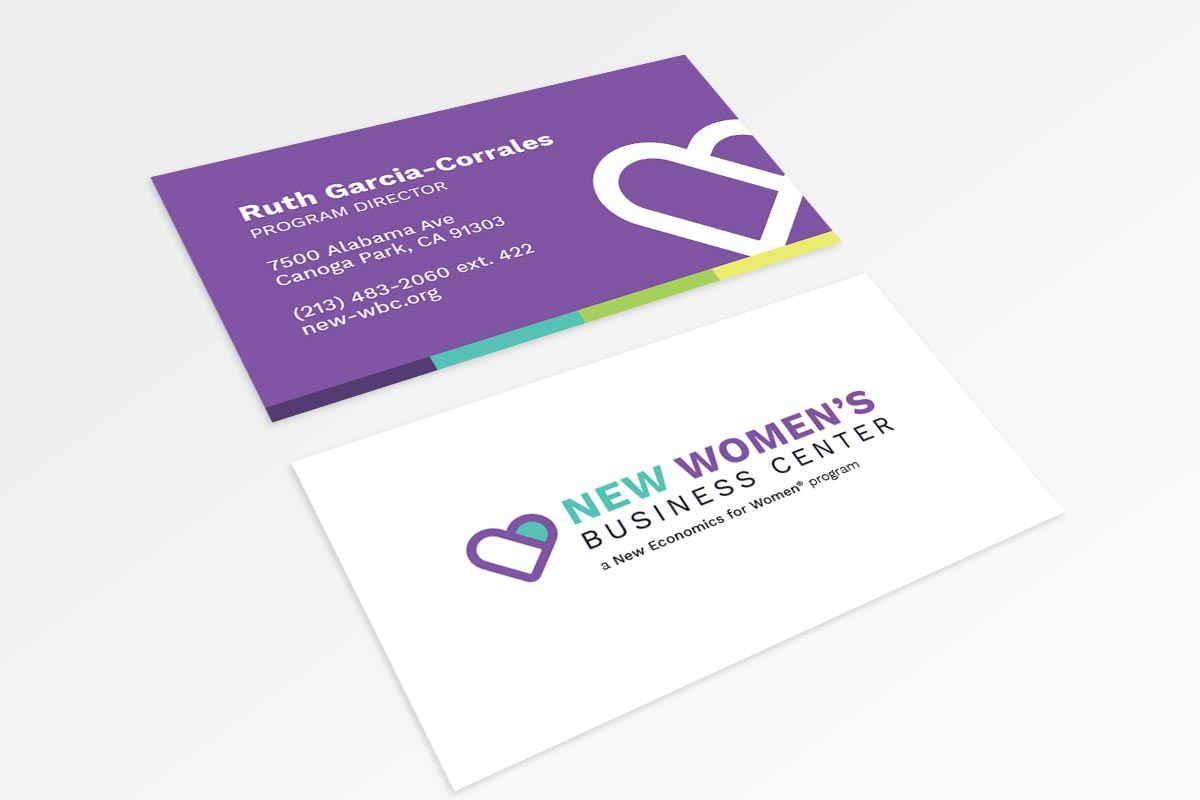 Business card marketing collateral for the NEW Women's Business Center