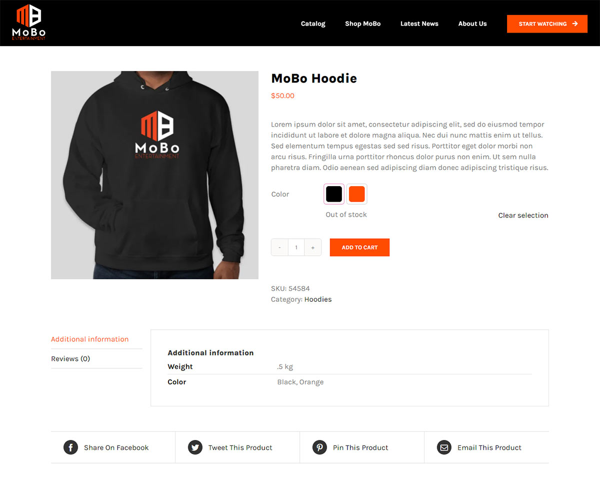 MoBo website product page