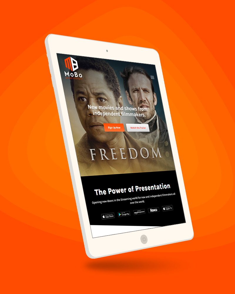 MoBo Entertainment website previewed on tablet device