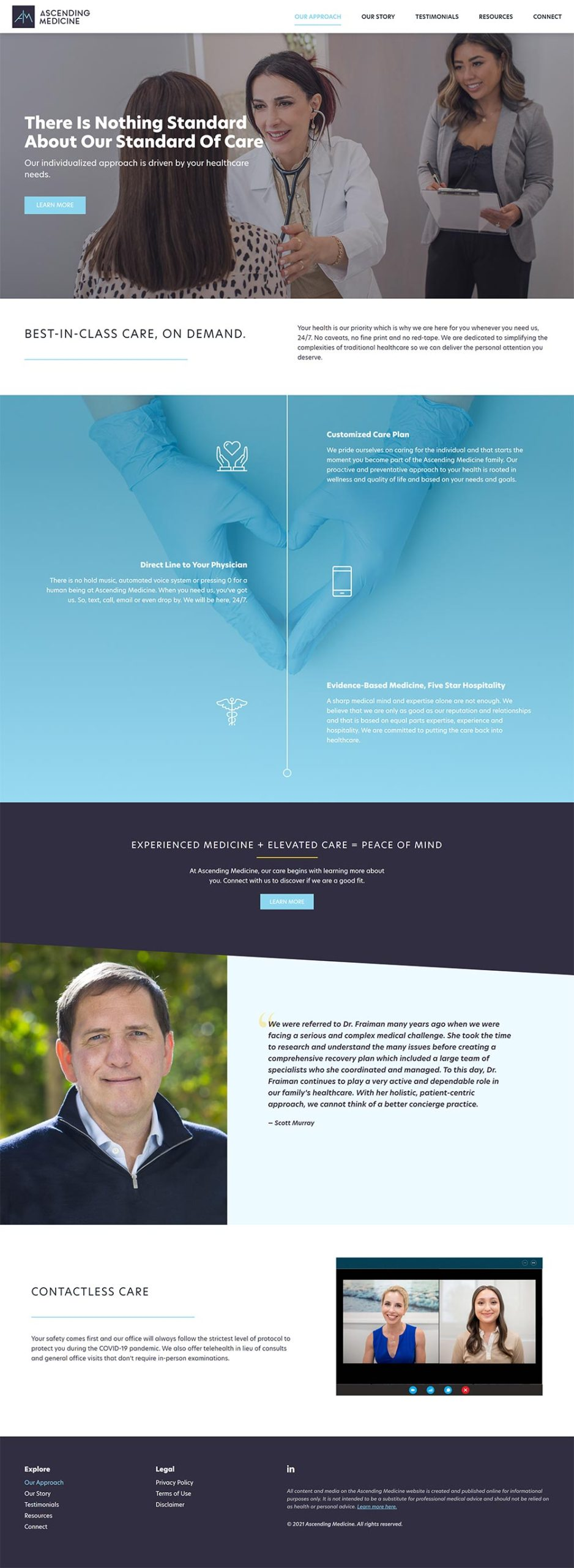 """Ascending Medicine """"Our Approach"""" web page designed by Chimento Agency"""