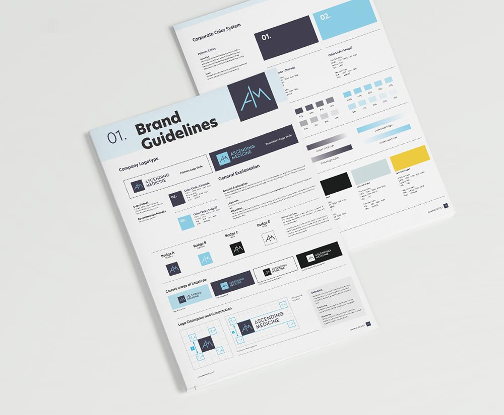 Brand guidelines for Ascending Medicine, designed by Chimento Agency